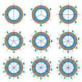 Grupo de gráfico de setores circulares com linhas e etiquetas coordenadas Gráficos setoriais no plano elementos coloridos do info ilustração stock