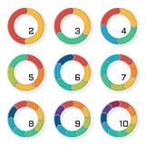 Grupo de gráfico de setores circulares com transição no formulário da seta, deslocamento do contorno e sombra da reticulação Info ilustração do vetor