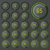 Grupo de gráfico de setores circulares para o design web Barra do progresso para o infographics do negócio elementos de 3d Infogr Fotografia de Stock