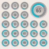 Grupo de gráfico de setores circulares para o infographics do negócio Barra do progresso para o design web elementos de 3d Infogr ilustração royalty free