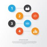 Grupo de gráficos, de diagramas e de ícones das estatísticas Coleção superior do símbolo da qualidade Os ícones podem ser usados  Imagens de Stock Royalty Free