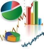 GRUPO DE GRÁFICOS DE NEGÓCIO Imagem de Stock