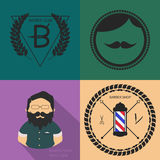 Grupo de gráficos e de ícones do logotipo da barbearia do vintage Foto de Stock Royalty Free