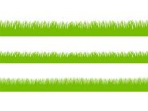 Grupo de grama verde fresca em três versões sem emenda Fotografia de Stock Royalty Free