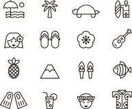 Grupo de grampo Art Hawaiian Icons Symbols Imagens de Stock
