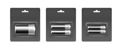 Grupo de Gray Silver Alkaline preto AA, AAA, baterias de C ilustração royalty free