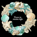 Grupo de grinalda da decoração do oceano em um fundo preto Foto de Stock