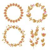 Grupo de grinaldas decorativas das flores e das folhas Fotografia de Stock Royalty Free