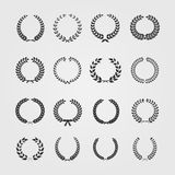 Grupo de grinaldas, heráldica circular do louro do trigo Foto de Stock