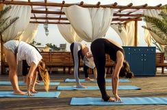 Grupo de hembras jovenes que practican yoga en la playa durante la salida del sol foto de archivo