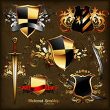 Grupo de heráldica medieval Fotos de Stock Royalty Free