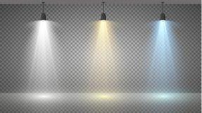 Grupo de holofotes coloridos em um fundo transparente Iluminação brilhante com projetores O holofote é branco, azul Fotografia de Stock Royalty Free