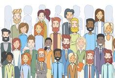 Grupo de hombres de negocios de la cara étnico diverso de los empresarios grandes de la muchedumbre libre illustration