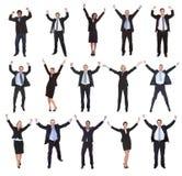 Grupo de hombres de negocios que aumentan los brazos Foto de archivo