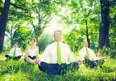 Grupo de hombres de negocios verdes el meditar Imágenes de archivo libres de regalías