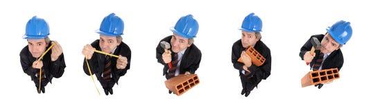 Grupo de hombres divertidos con los sombreros duros Foto de archivo libre de regalías