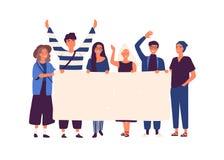 Grupo de hombres jovenes y de mujeres que se unen y que sostienen la bandera en blanco Gente que participa en desfile o la reunió libre illustration