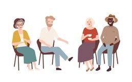 Grupo de hombres mayores y de mujeres que se sientan en sillas, té de consumición, hablar el uno al otro y la risa Viejos jubilad ilustración del vector