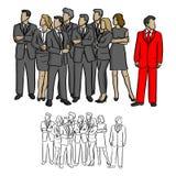grupo de hombres de negocios que miran en la derecha excepto una en el ejemplo rojo del vector del traje Fotos de archivo libres de regalías