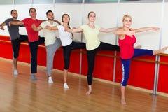 Grupo de hombres y de mujeres que practican en la barra del ballet fotos de archivo