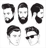 Grupo de homem da forma do moderno com barba, bigode e óculos de sol Fotos de Stock Royalty Free