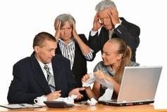 Grupo de homem de negócios com portátil Fotos de Stock