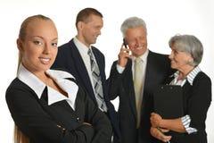 Grupo de homem de negócios com portátil Imagens de Stock