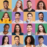 Grupo de homem e de retratos emocionais fêmeas fotografia de stock