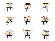 Grupo de homem infeliz do escritório e de negócio, desenhos animados 3d bonitos Imagem de Stock