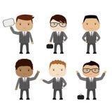 Grupo de homem de negócios dos desenhos animados ou de gerente engraçado em várias poses, dif Fotos de Stock