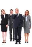 Grupo de homens de negócios com móbil imagens de stock