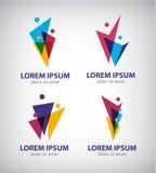 Grupo de homens do vetor, logotipos humanos, ícones Imagens de Stock