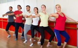 Grupo de homens e de mulheres que praticam na barra do bailado imagem de stock
