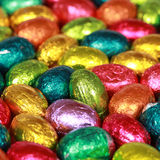 Grupo de huevos de chocolate Imagenes de archivo