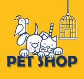 Grupo de iconos de los animales domésticos stock de ilustración