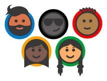 Grupo de iconos multi-étnicos del emoji de la gente ilustración del vector