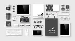 Grupo de identidade corporativa e de marcagem com ferro quente Vetor Imagens de Stock Royalty Free
