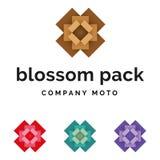 Grupo de identidade de empacotamento do logotipo da flor Ilustração do Vetor