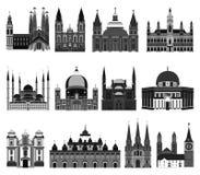 Grupo de igrejas isoladas ilustração royalty free