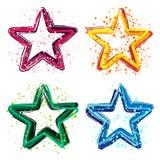 Grupo de ilustração colorida do vetor das estrelas do grunge Imagens de Stock Royalty Free