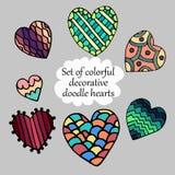 Grupo de ilustração colorida dos corações da garatuja Fotografia de Stock