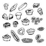 Grupo de ilustração da tinta do cozimento da sobremesa Imagem de Stock Royalty Free