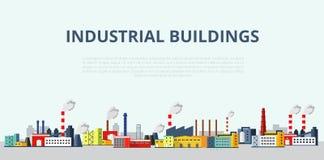 Grupo de ilustração das construções industriais Molde para seu projeto Imagens de Stock