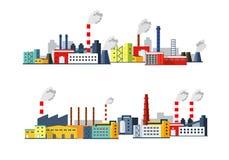 Grupo de ilustração das construções industriais Molde para seu projeto Fotos de Stock Royalty Free