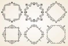 Grupo de ilustração decorativa do vetor dos quadros Quadro luxuoso elegante da caligrafia do vintage Molde para o cartão Imagem de Stock