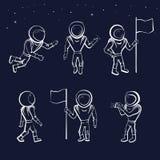Grupo de ilustração do vetor do astronauta Imagens de Stock Royalty Free