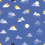 Grupo de ilustração do vetor dos ícones do tempo Fundo sem emenda do teste padrão de Sun, de nuvem, de chuva, de lua e de weather Fotos de Stock Royalty Free
