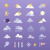 Grupo de ilustração do vetor dos ícones do tempo Sun, nuvem, chuva, lua e weathercock Imagens de Stock