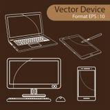 Grupo de ilustração do vetor dos dispositivos de Digitas Imagem de Stock