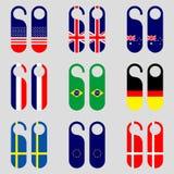 Grupo de ilustração do vetor dos ganchos de porta da bandeira Imagem de Stock